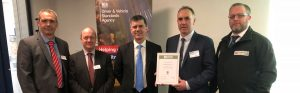 Simmonds Transport presented with their founder member Earned Recognition certificate