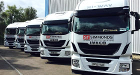 Simmonds Transport vehicles parked